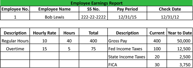 What is an employee earnings report definition for Employee earnings record template