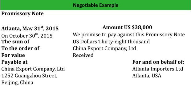Negotiable Example  Examples Of Promissory Note