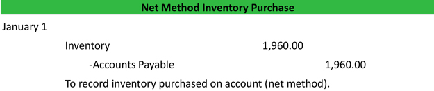 Net Method Inventory Purchase Journal Entry Example