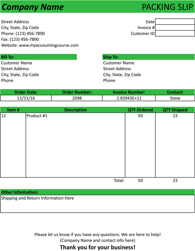 Packing Slip Template  Sample  Form  Free Download Pdf  Excel
