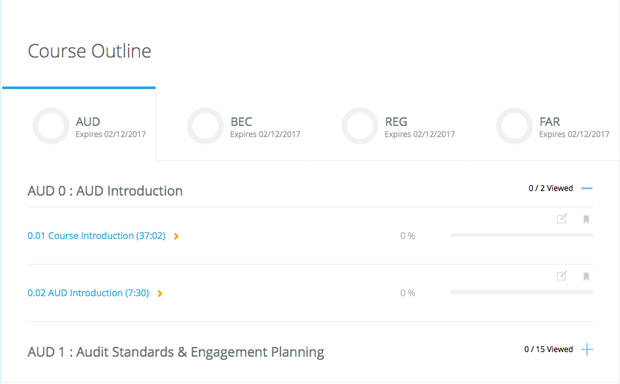 Roger CPA Course Outline Dashboard